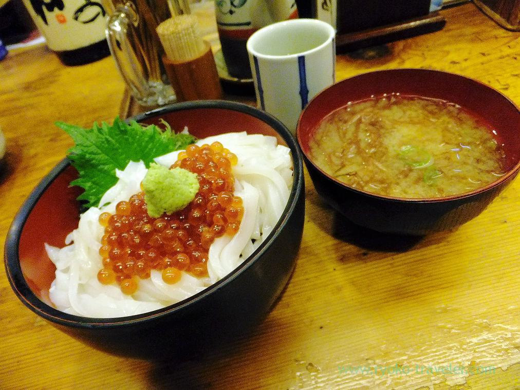 (Trip to Izu 2015 to see the earliest plum blossoms in Kanto area ) Squid and salmon roe bowl set, Nishiki (Izu Atagawa)