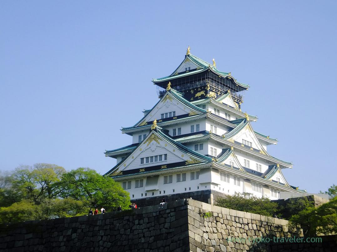 From outside of inner moata moat, Osaka-jo castle, Osaka-jo park (Trip to Osaka 201504)