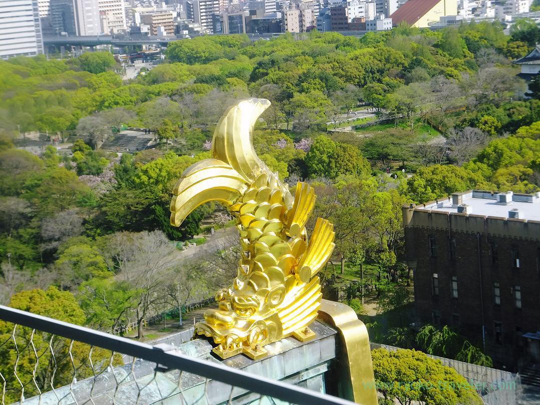 Golden dolphin, Osaka-jo castle, Osaka-jo park (Trip to Osaka 201504)