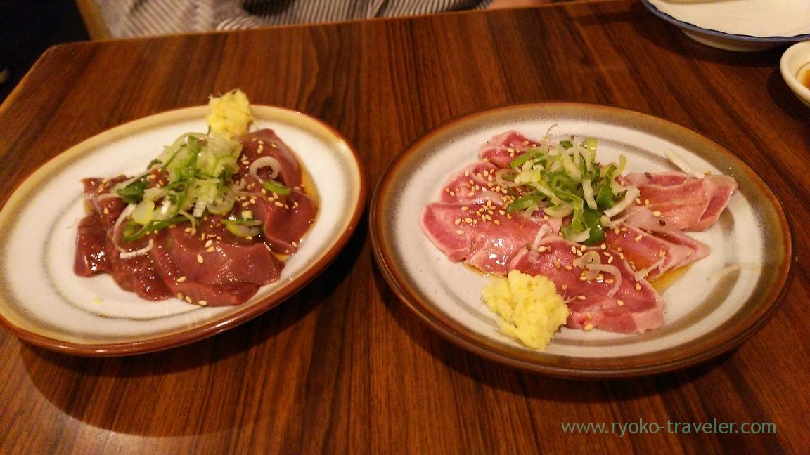Tongue sashimi and liver sashimi, Konpei (Nishi-Ojima)