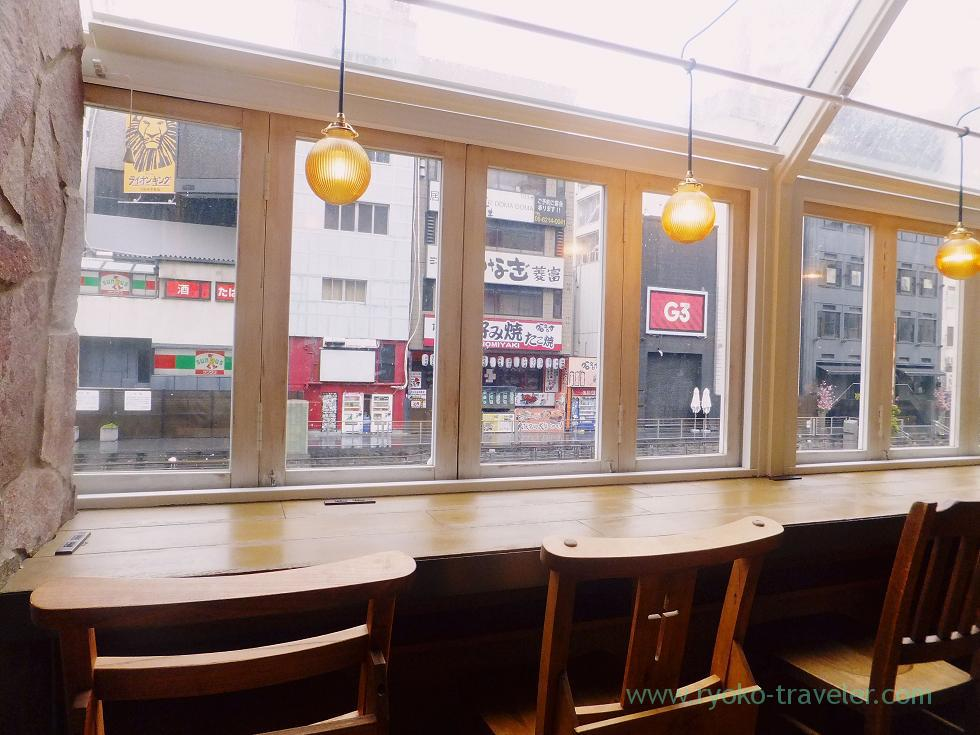 View of Dotonbori, Honolulu Coffee company Nanba branch, Nanba (Trip to Osaka 201504)