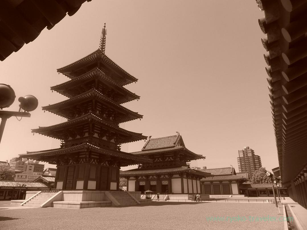 Whole view as sepia, Shitenno-ji temple, Tennoji (Trip to Osaka 201504)