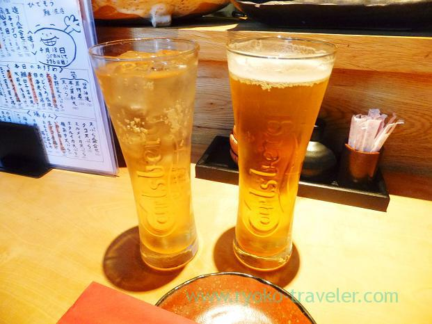 Shandy gaff and ginger ale, Sakana-ya Hidezo Nanba branch, Tennoji (Trip to Osaka 201504)