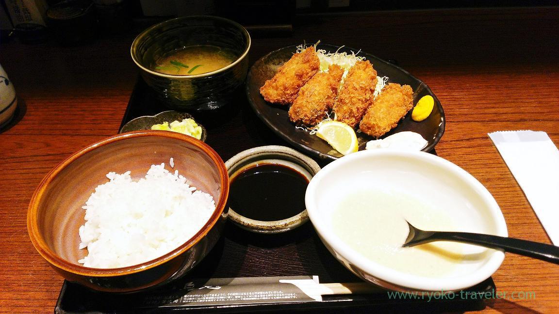 Deep fried oysters set, Torigen Funabashi Face branch (Funabashi)