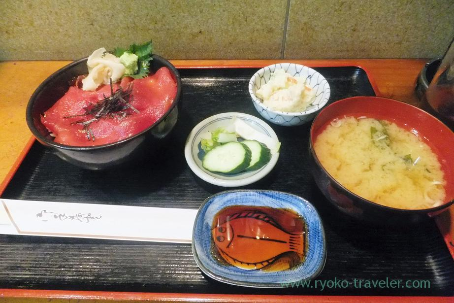 Marinated tuna bowl set, Tatsuya (Tsukishima)