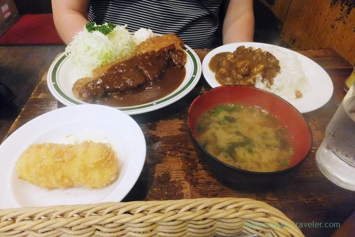 Beef cutlet + small curry +crab cream croquette, Cutlet Yotsuya Takeda (Yotsuya)