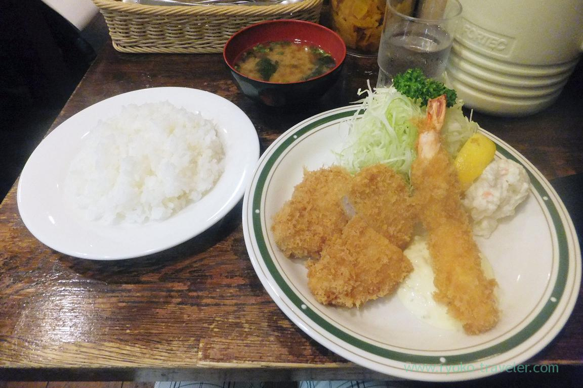 Fillet cutlet and deep frie shrimp set  , Cutlet Yotsuya Takeda (Yotsuya)