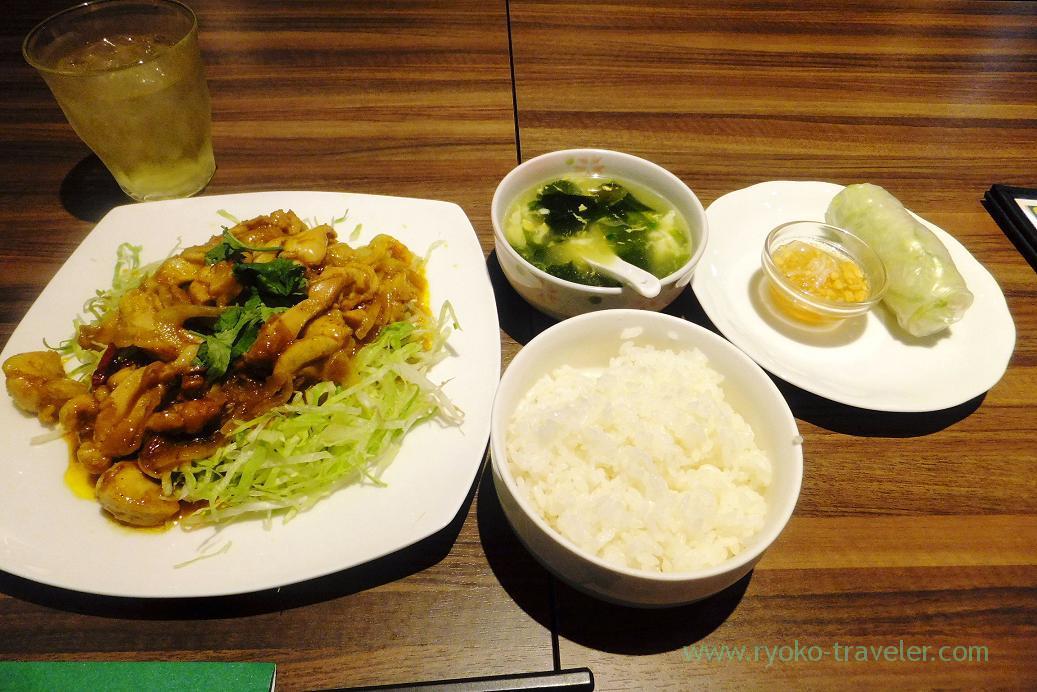 Fried chicken with lemon grass set, Sun Flower Motoyawata branch (Motoyawata)