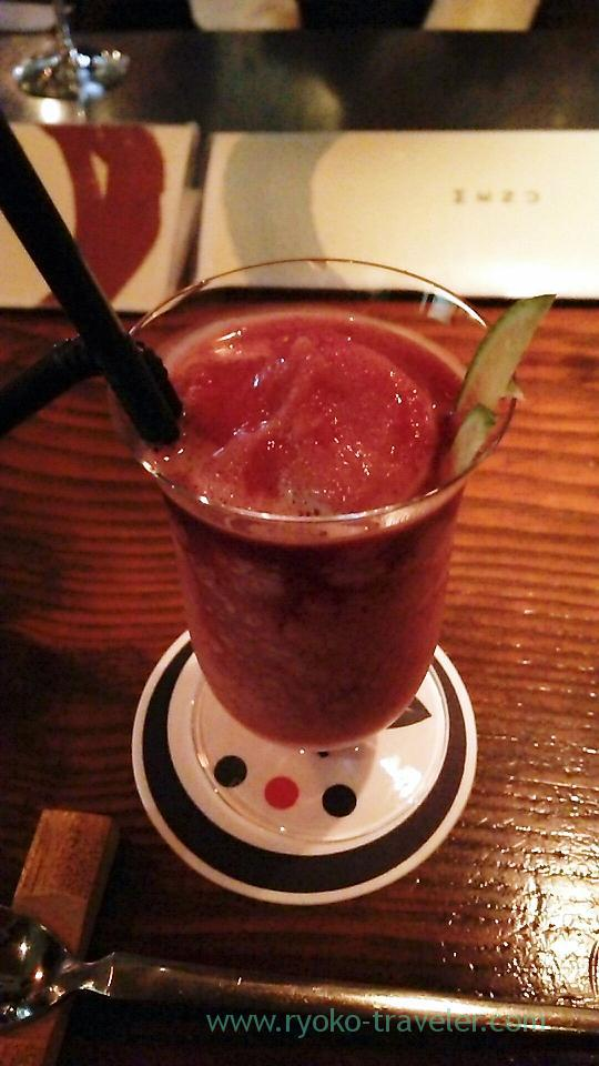 Strawberry smoothie cocktail, Takekawara Onsen, Beppu (Oita 2015 Spring)
