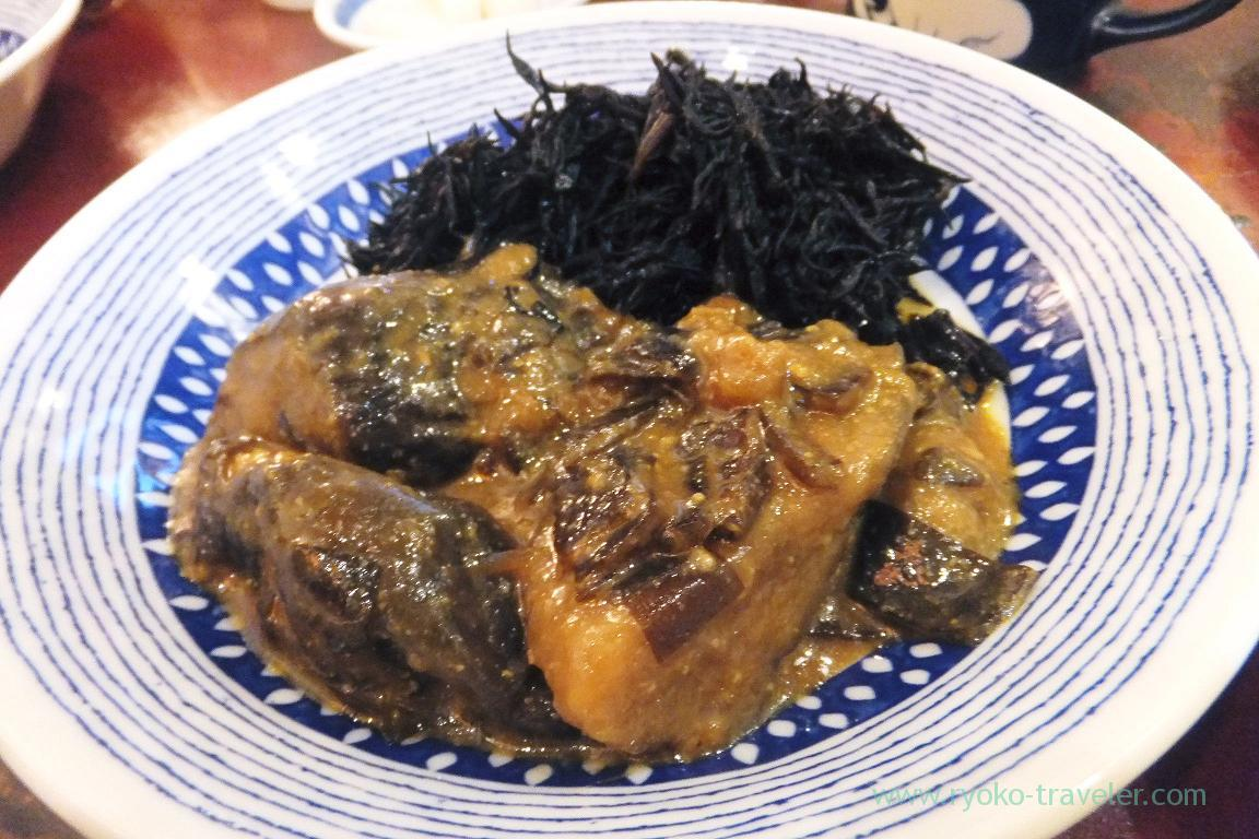 Boiled eggplant with peanuts and miso and hijiki seaweed, Yonehana (TSukiji Market)