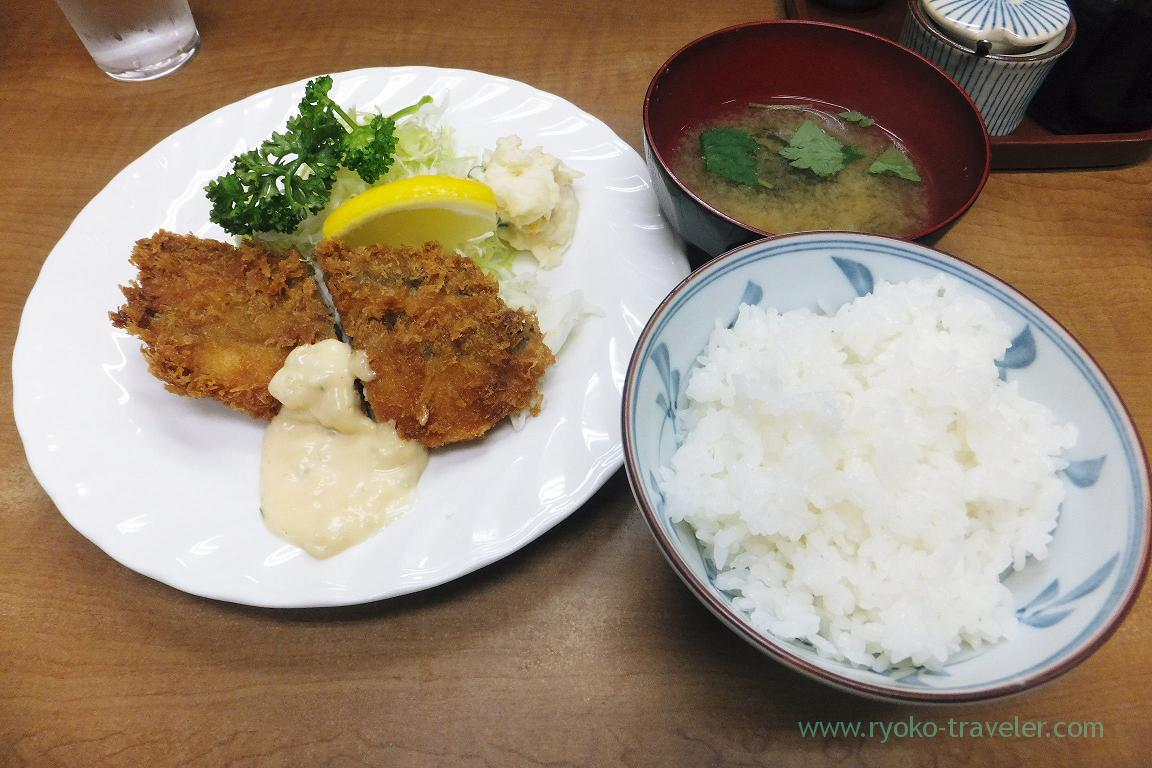 Deep fried Spanish mackerel and rice set, Odayasu (Tsukiji Market)