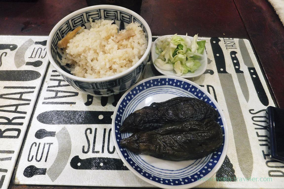 Eggplant and matsutake gohan, Yonehana (Tsukiji market)