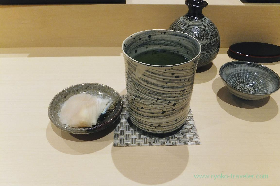 Green tea and gari, Sushi Hashimoto (Shintomicho)