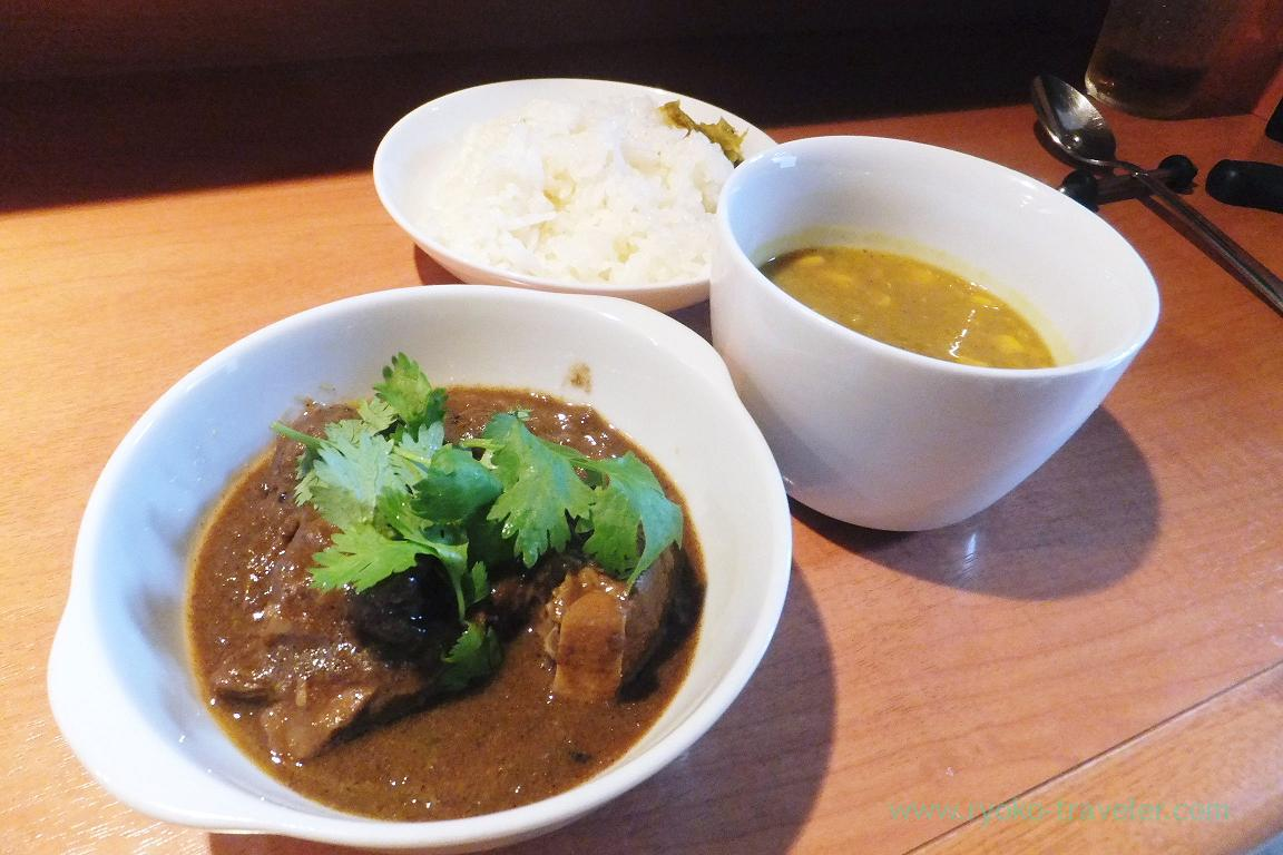 Mutton curry, lentil and corn soup and butter rice, Dining bar Gracia (Asakusabashi)