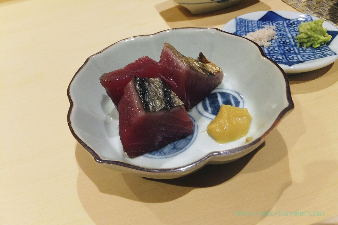 Slightly grilled bonito, Sushi Hashimoto (Shintomicho)