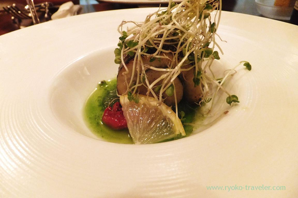 barracuda from Kanagawa rotoro with dried tomato and rucola puree, il tram (Kiyosumi-Shirakawa)