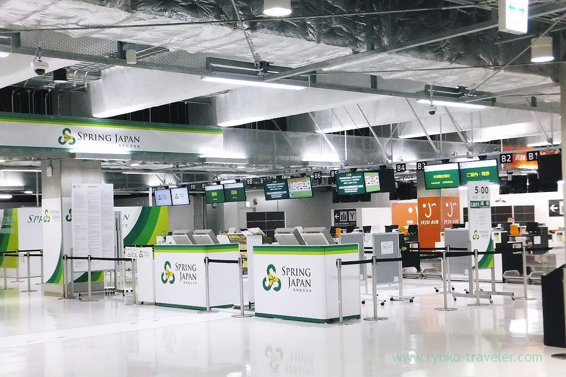 Check-in counter of Spring Japan, Narita airport terminal 3, Narita airport(Takamatsu 2015)