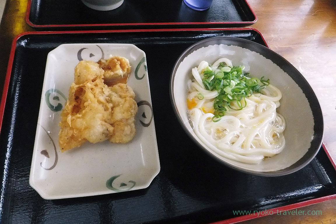 Kamatama udon and chicken tempura, Ikegami Seimenjo, Kuko dori, Udon tour managed by Kotosan bus,(Takamatsu 2015)