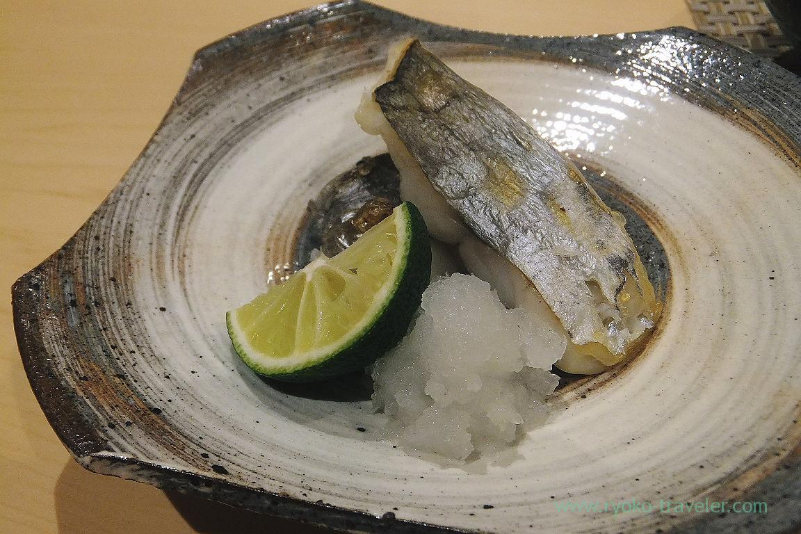 Grilled salted butterfish, Sushi Hashimoto (Shintomicho)