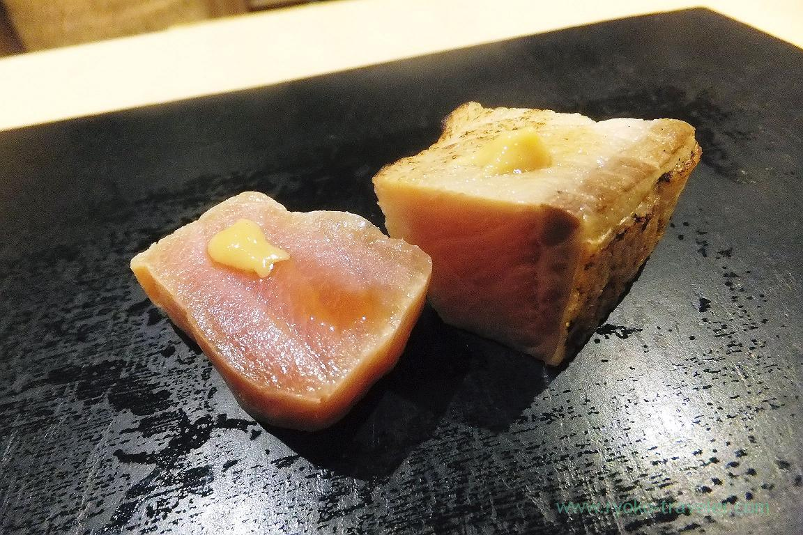 Marinated yellowtail, Sushi Hashimoto (Shintomicho)