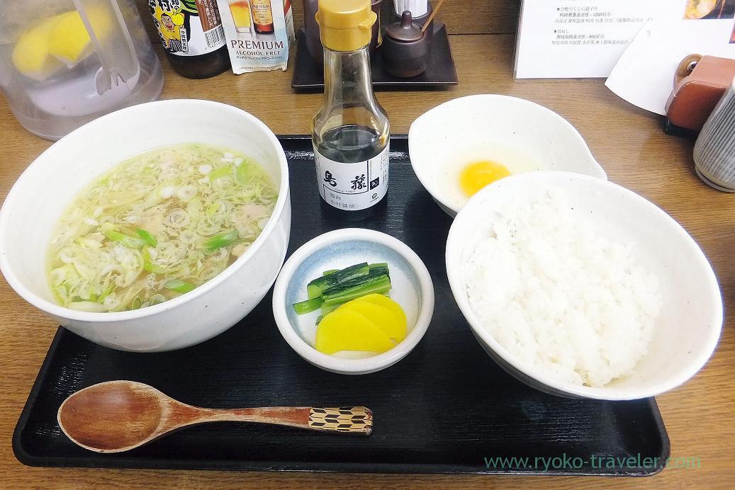 Chicken soup and tamagokake gohan set, Toritoh Tsukiji market branch (Tsukiji market)