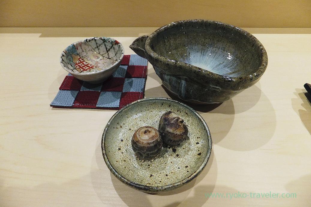 sake and kinukatsugi, Sushi Hashimoto (Shintomicho)