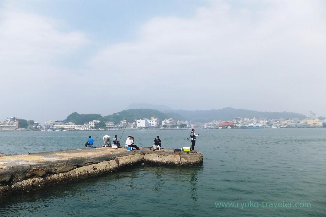 Fishing besides the terminal, Cijin Ferry terminal, Cijin, Kaohsiung, Taiwan Kaohsiung 2015