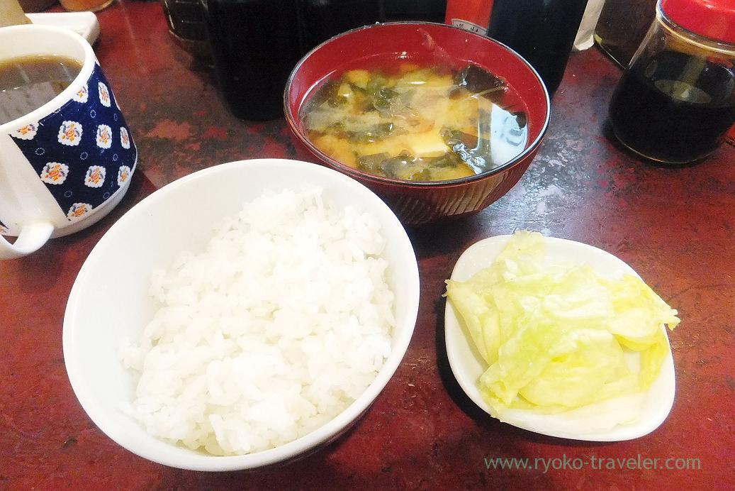 Rice, miso soup and pickled Chinese cabbage, Yonehana (Tsukiji Market)
