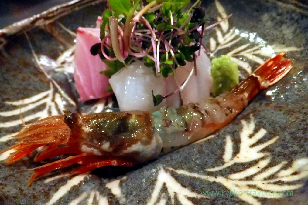 Assorted sashimi - gasu shrimp , yellowtail, neon flying squid and marbled rockfish (kasago) Oryori Kifune, Kanazawa (Hokuriku&Tokai 2016)
