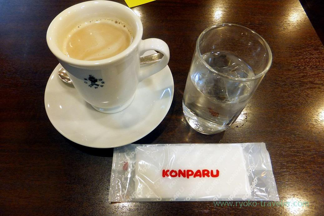 Cafe au lait, water and hand towel, Konparu Meichika branch, Nagoya (Hokuriku&Tokai 2016)