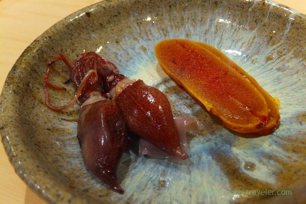 Mullet roe and marinated firefly squid with miso, Sushi Hashimoto (Shintomkcho)