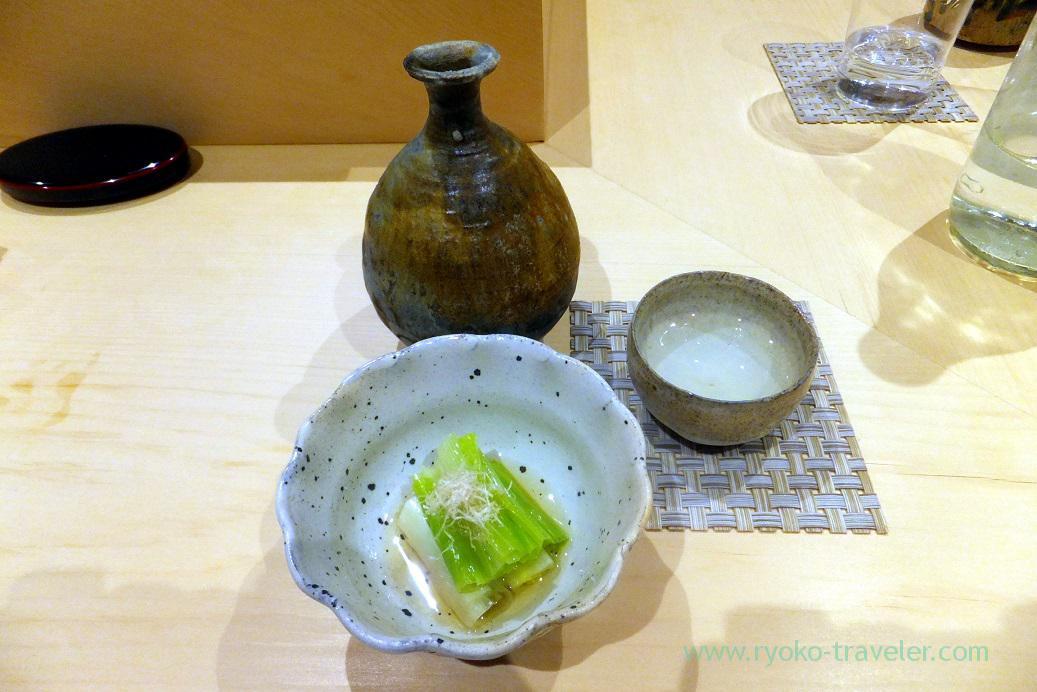 My sake and Hosta montana ohitashi, Sushi Hashimoto (Shintomicho)