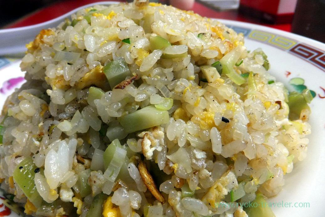 Closer view of fried rice with zha cai, Yajima (Tsukiji Market)