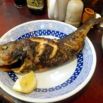 Tsukiji Market : Grilled grunt with salt at Yonehana (築地 米花)