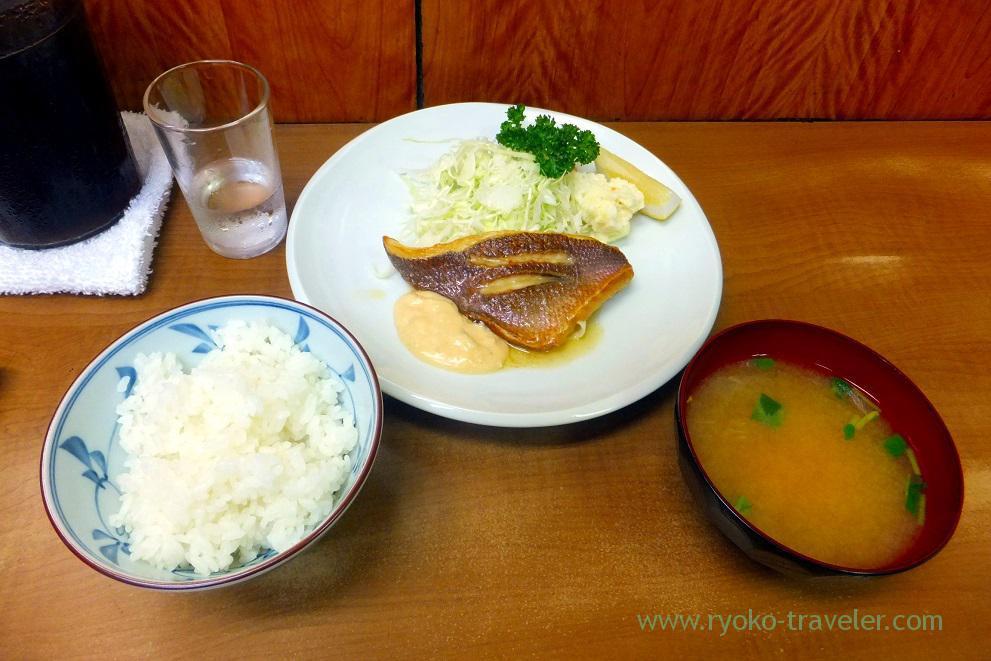 Fried sea-perch snapper with butter and rice set, Odayasu (tsukiji market)