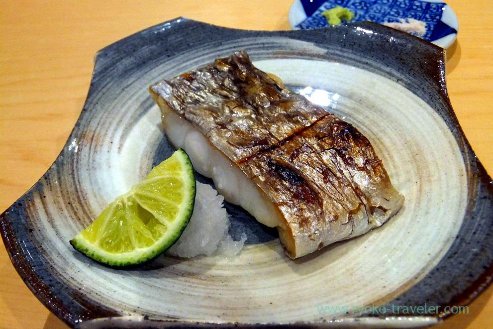 Grilled cutlass fish with salt, Sushi Hashimoto (Shintomicho)