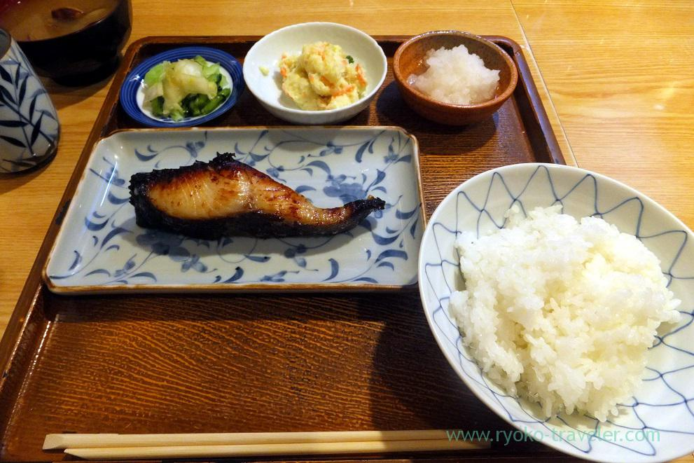Grilled sablefish marinated with saikyo miso set, Tsukishima (Tsukishima)