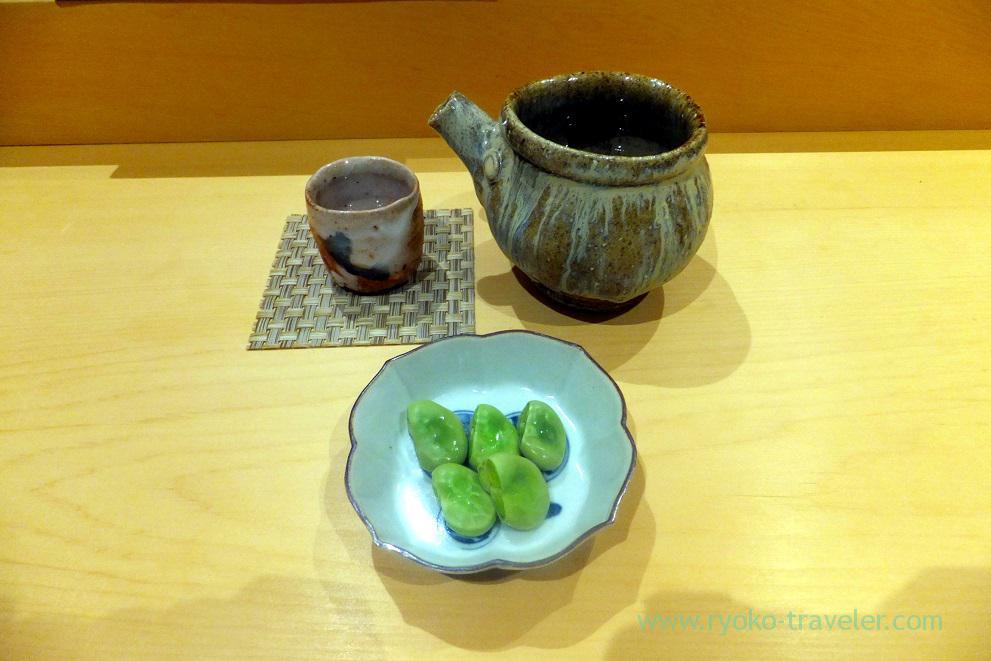 Kozaemon and fava bean, Sushi Hashimoto (Shintomicho)