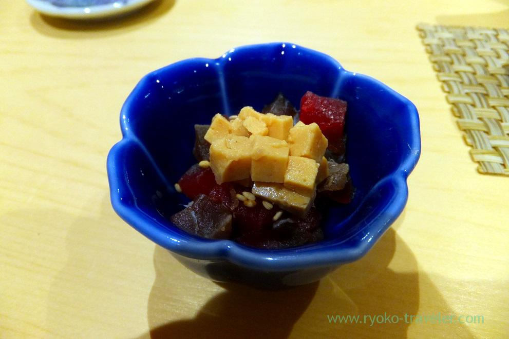 PIckled tuna dressed with sauce, Sushi Hashimoto (Shintomicho)