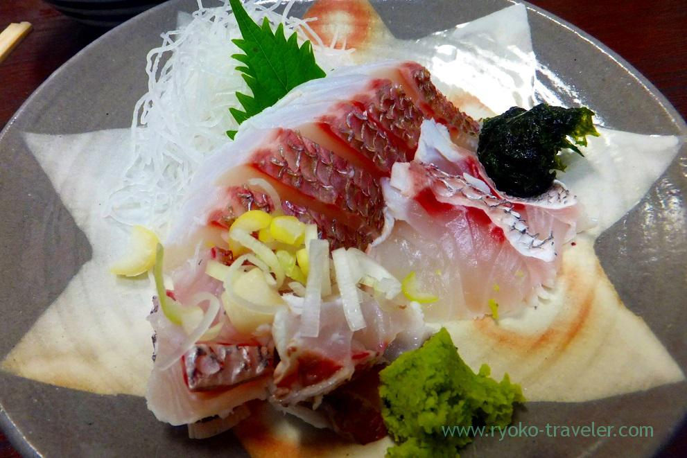Wild-grown red sea bream sashimi, Takahashi (Tsukiji market)