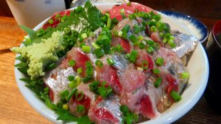 Tsukiji :  Tuna and sardine sashimi bowl at Hajime Sengyo-ten (はじめ鮮魚店)