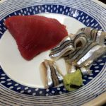 Tsukiji Market : Boiled vegetables and sashimi at Yonehana (米花)