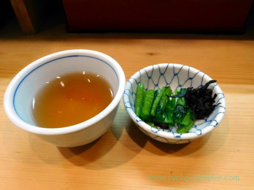 Pickled vegetables and tea, Toriyaki Tstunoji (Tsukiji)