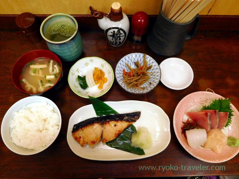 Spanish mackerel Saikyo-yaki set and two species of sashimi set, Kato Shokudou (Tsukiji)