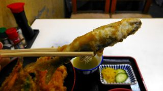(Moved) Tsukiji Market : Tendon having Young sweetfish at Tenfusa (天房)