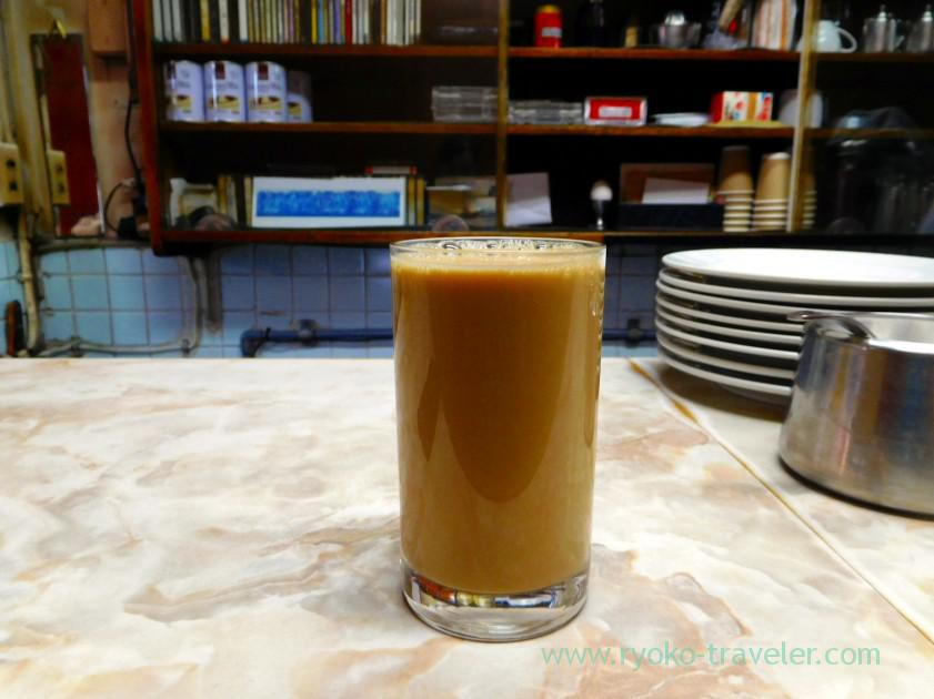Hot milk coffee on the table, Aiyo (Tsukiji Market)