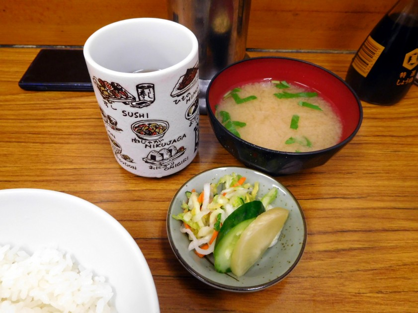 Pickled vegetables and mis soup, Tonkatsu Yachiyo (Tsukiji market)