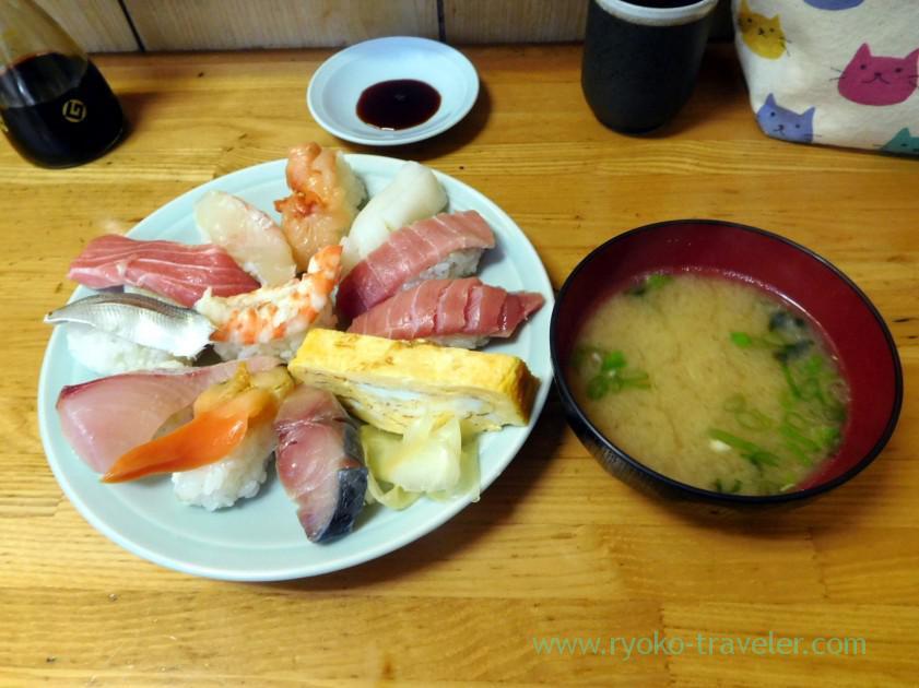 1.5 portion of sushi set, Motodane (Tsukiji)