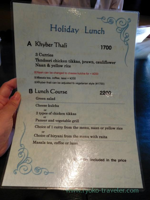 Holiday lunch menu, Khyber (Ginza)