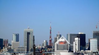 Toyosu Market : Blue sky, green grass, and Tokyo Tower ! Fine view from the rooftop !